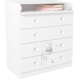 Polini-kids Wickelkommode French 1580  ´´Amis´´  weiß - bestellen für 149.00 € - kindermoebel-outlet.de